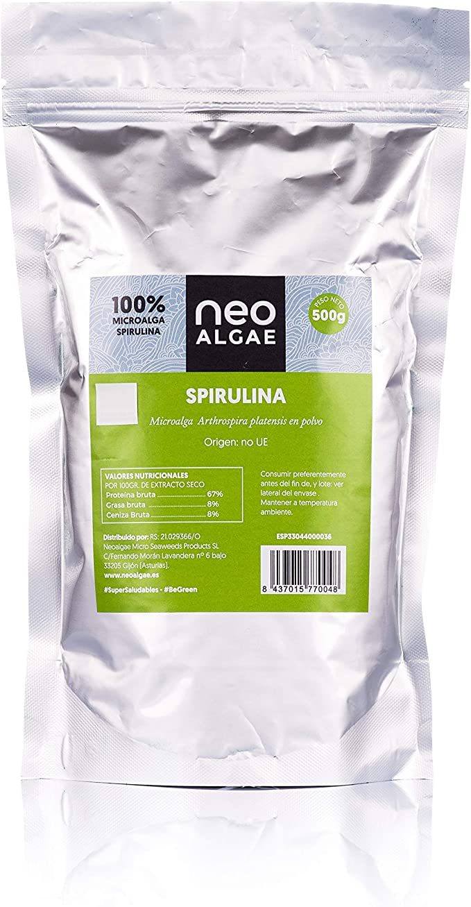 Alga Spirulina Orgánica en Polvo | Producción 100% Ecológica y Natural | Alga Spirulina Pura | Ningun Aditivo | Potente Antioxidante Natural | 500 g ...