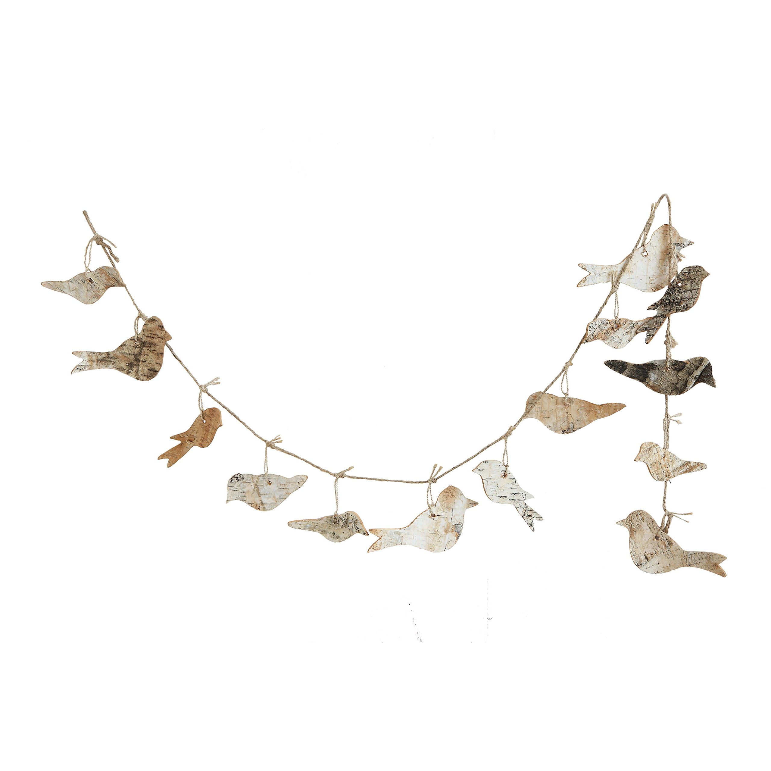 Creative Co-op XM0909 Natural Lodge 72'' Birch Bark Bird Garland