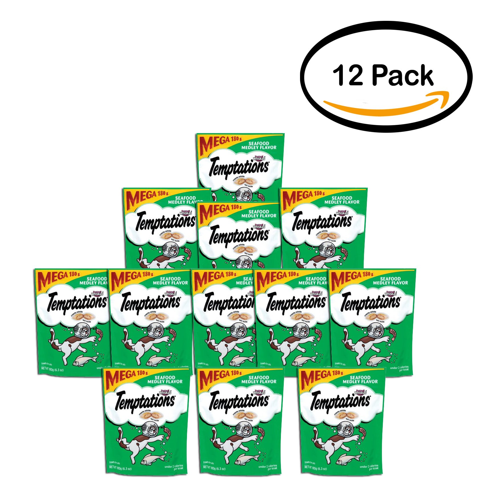 PACK OF 12 - TEMPTATIONS Classic Treats for Cats Seafood Medley Flavor 6.3 Ounces