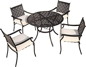 LOKATSE HOME 5 Piece Outdoor Patio Metal Dining Set with 4 Outdoor Iron Arm Dining Chairs with Seat Cushions and 1 Outdoor Dining Table with Umbrella Hole-White