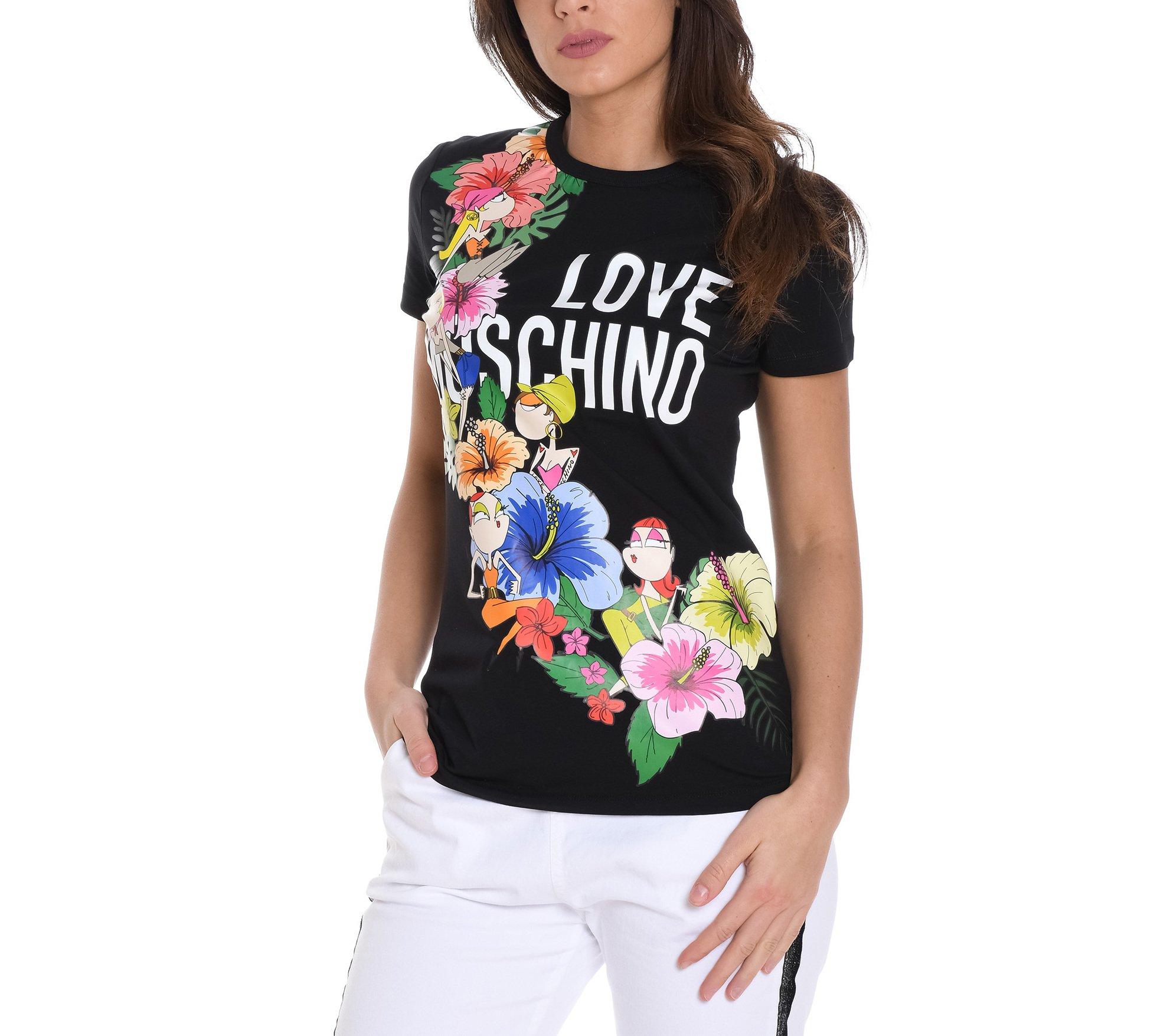 Love Moschino Women's W4f7330e1907c74 Black Cotton T-Shirt