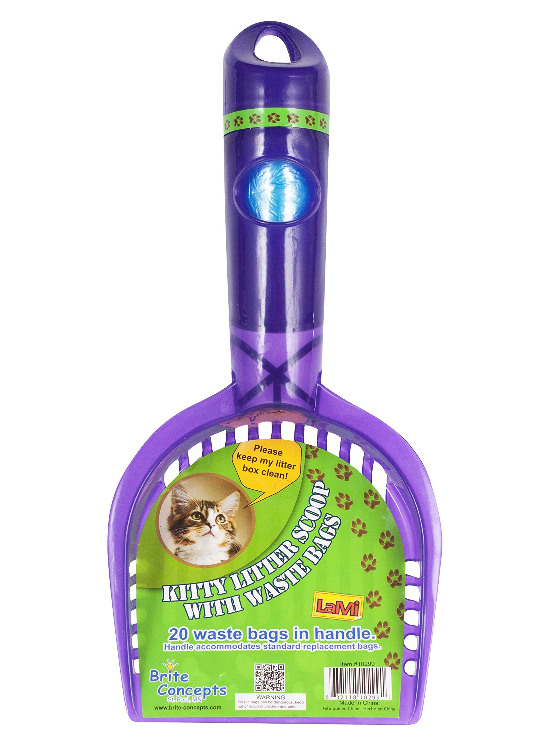 Bright Concepts Kitty Litter Scoop and Rack, With 20 Waste Bags In the Handle, 2-pack