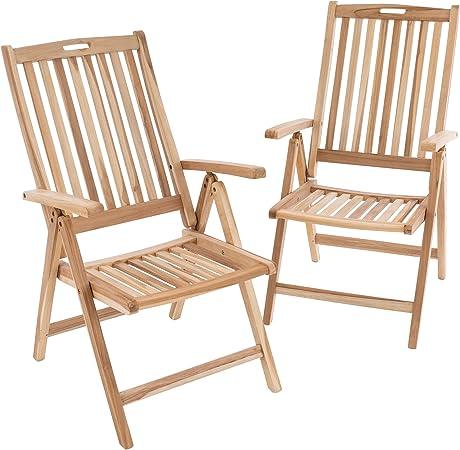 DIVERO 2er Set Gartenstuhl Armlehne Stuhl Teak Holz unbehandelt klappbar massiv