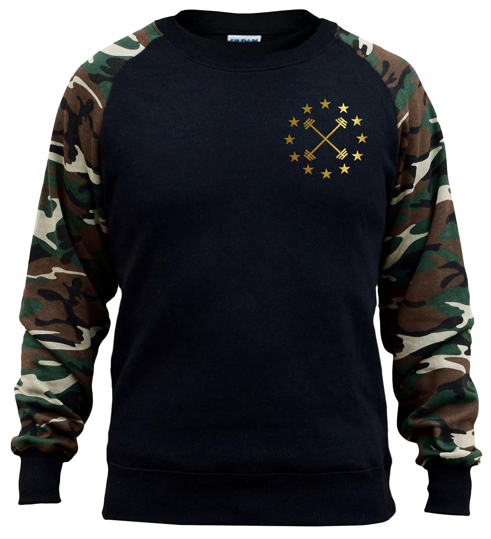 Interstate Apparel Mens Gold Barbell Star Emblem Chest V397 Black//Camo Raglan Baseball Sweatshirt Black