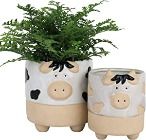 Ceramic Animal Succulent Plant Pots - 5.7 + 4.4 Inch Cute Cow Shaped Half Glazed Rough Pottery Indoor Planters for Flower Cactus, Home Decor Gift