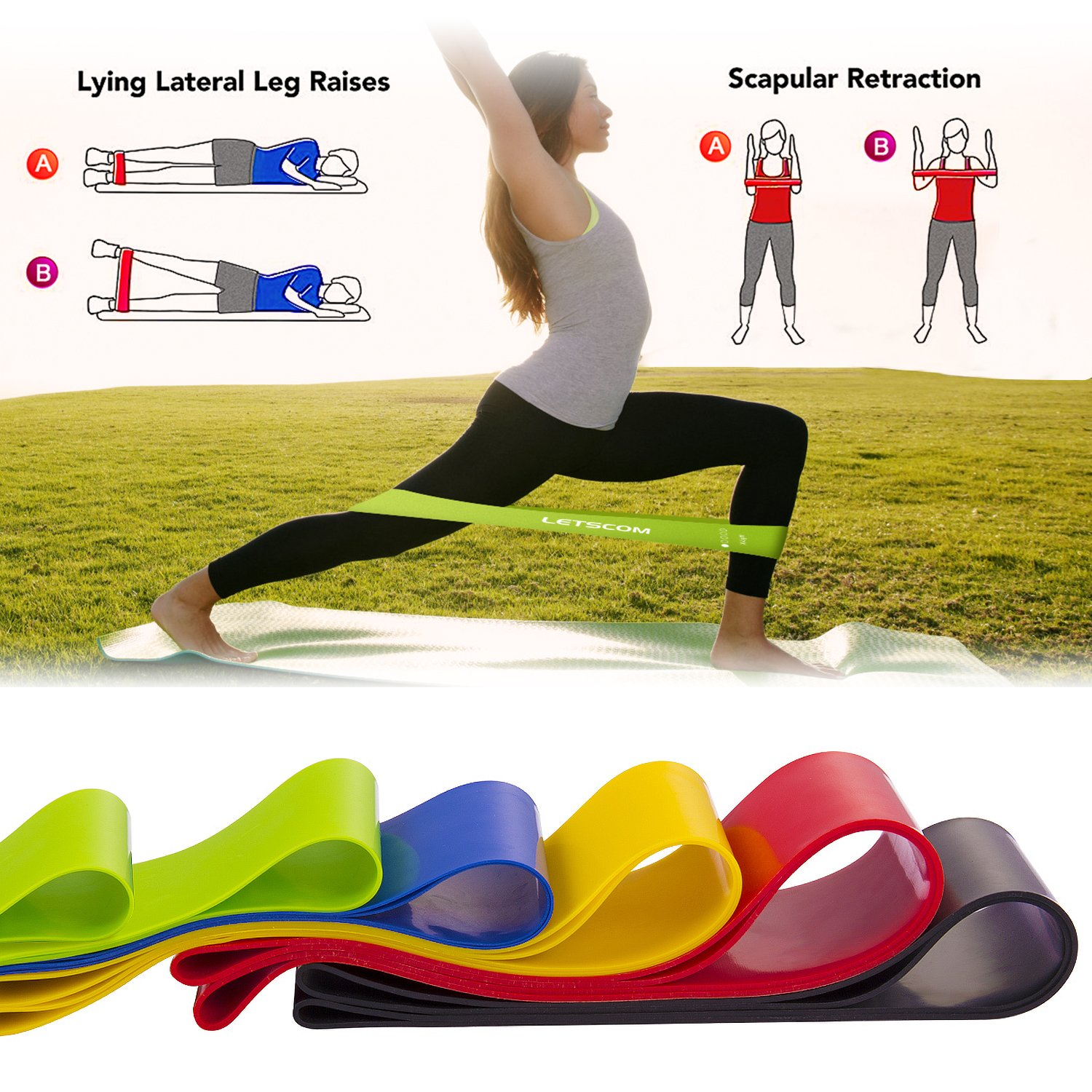 LETSCOM Resistance Bands, Exercise Loop Bands, 12'' Latex Elastic Bands for Stretching, Pilates and Home Fitness, 5 Stretch Levels Workout Bands with Carry Bag, EBook and Online Videos, Set of 6 by LETSCOM (Image #5)