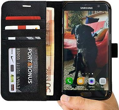 Abacus24-7 S7 Edge Funda, Galaxy S7 Edge Funda Flip de Cuero Negro ...