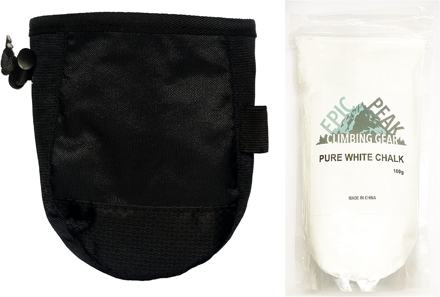 Epic Peak Rock Climbing Chalk Bag With A Bag Of 100g Of Pure White Loose Chalk