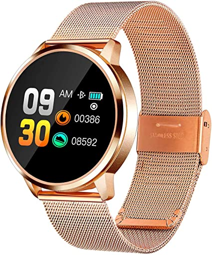 Sonnic Smart Watch for Men Women Acts as a Health and Fitness Tracker Which Has Milanese Loop Stainless Steel Band and High Definition Touch Color ...