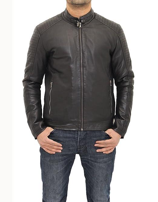 A to Z Leather Chaqueta de Moto Negra de Cuero Perforado para Hombre: Amazon.es: Ropa y accesorios
