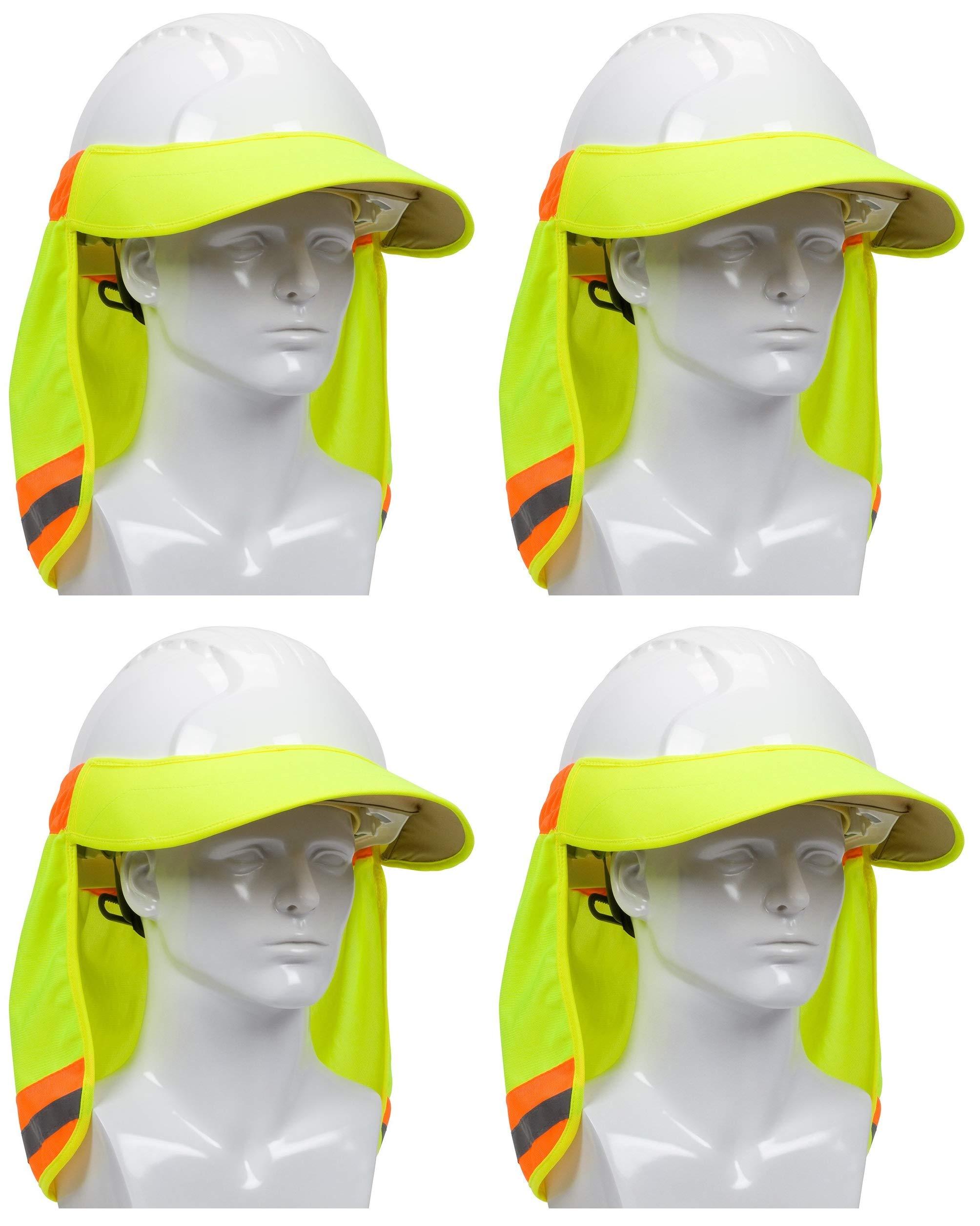 EZ-Cool 396-800-YEL Hi-Vis Hard Hat Neck Sun Shade With Visor, Large, Yellow (Расk оf Fоur) by EZ-Cool (Image #1)