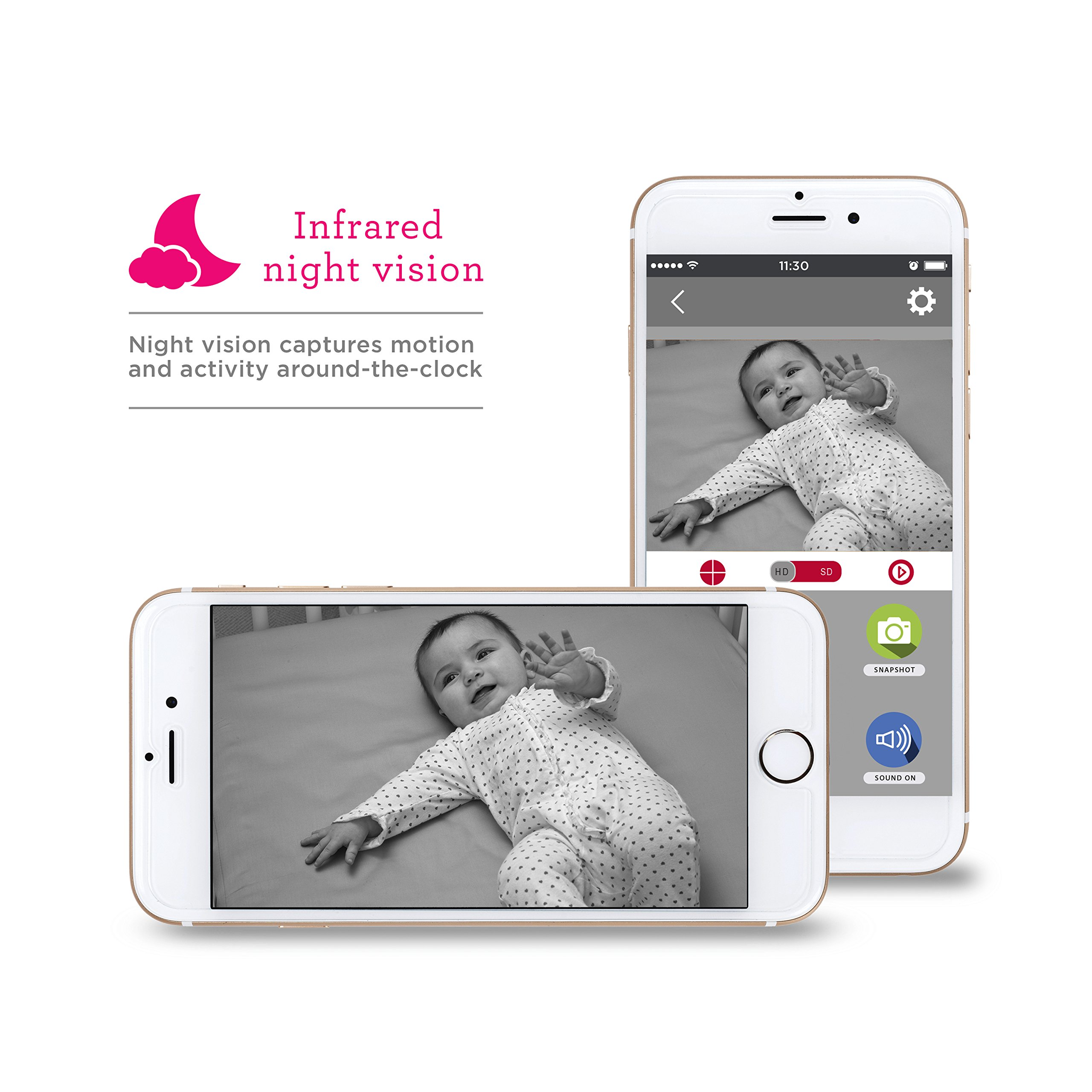 Project Nursery HD WiFi Video Baby Monitor System with Sound, Motion & Temperature Alerts & an App for iOS, Android and Any Smartphone or Tablet by Project Nursery (Image #5)