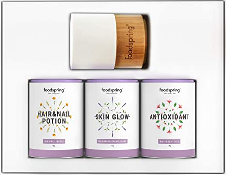 foodspring Té Pack de Infusiones, Beauty & Wellness, 3 x 70g, con ...