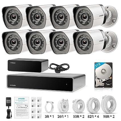 Zmodo Kit NVR 8 canales HDMI cámara de exterior vigilancia 1080p repetidor SPOE Hard Drive 2TB