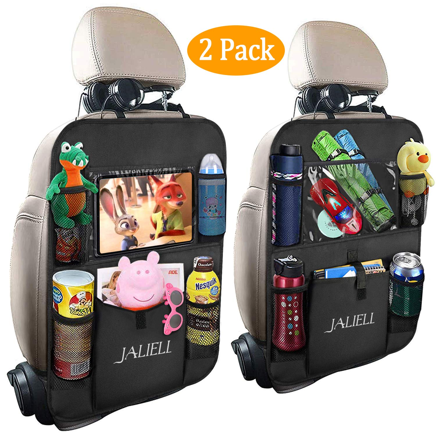 JALIELL Car Organizer Back Seat - 2019 Newest Car Seat Organizer with Clear 10'' Tablet Holder + 5 Storage Pockets + USB/Headphone Slits for Kids And Travel (2 Pack) by JALIELL