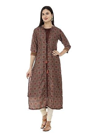 2f2c841e3 Amazon.com  SABHYATA Womens Kurta Indian Kurtis for Women Casual Tunic Kurti  Tops Long Dress  Clothing