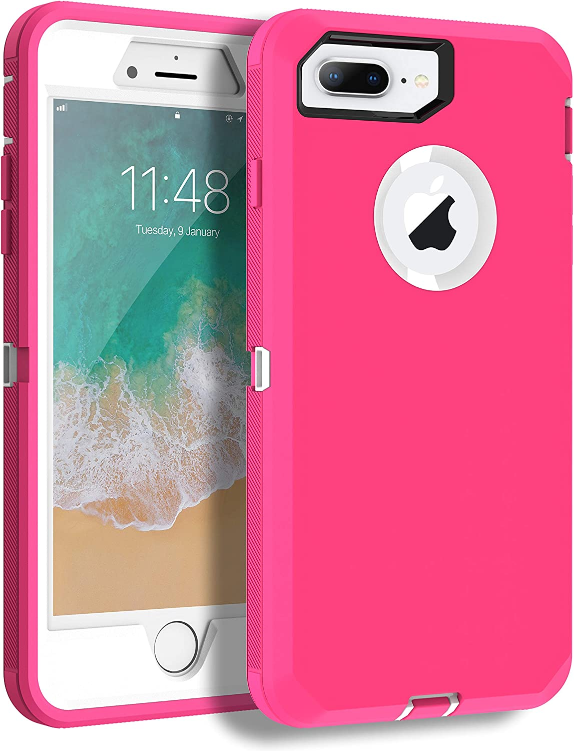 MXX iPhone 8 Plus Heavy Duty Protective Case with Screen Protector [3 Layers] Rugged Rubber Shockproof Protection Cover for Apple iPhone 7 Plus - iPhone 8 Plus/Apple Phone 8+ (Pink/White)