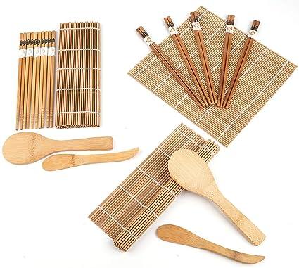 Lawei 2 Pack Bamboo Sushi Making Kit Includes 4 Bamboo Sushi Rolling Mats 10 Pairs Chopsticks 2 Rice Paddle 2 Rice Spreader 100 Bamboo Sushi