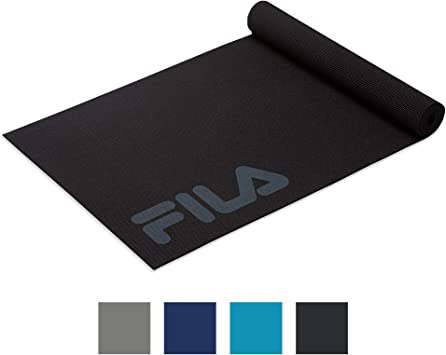FILA Accessories Yoga Mat - Classic Exercise Mat with Carrying Strap Sling for Yoga, Pilates, Stretching & Gym Floor Workouts (68