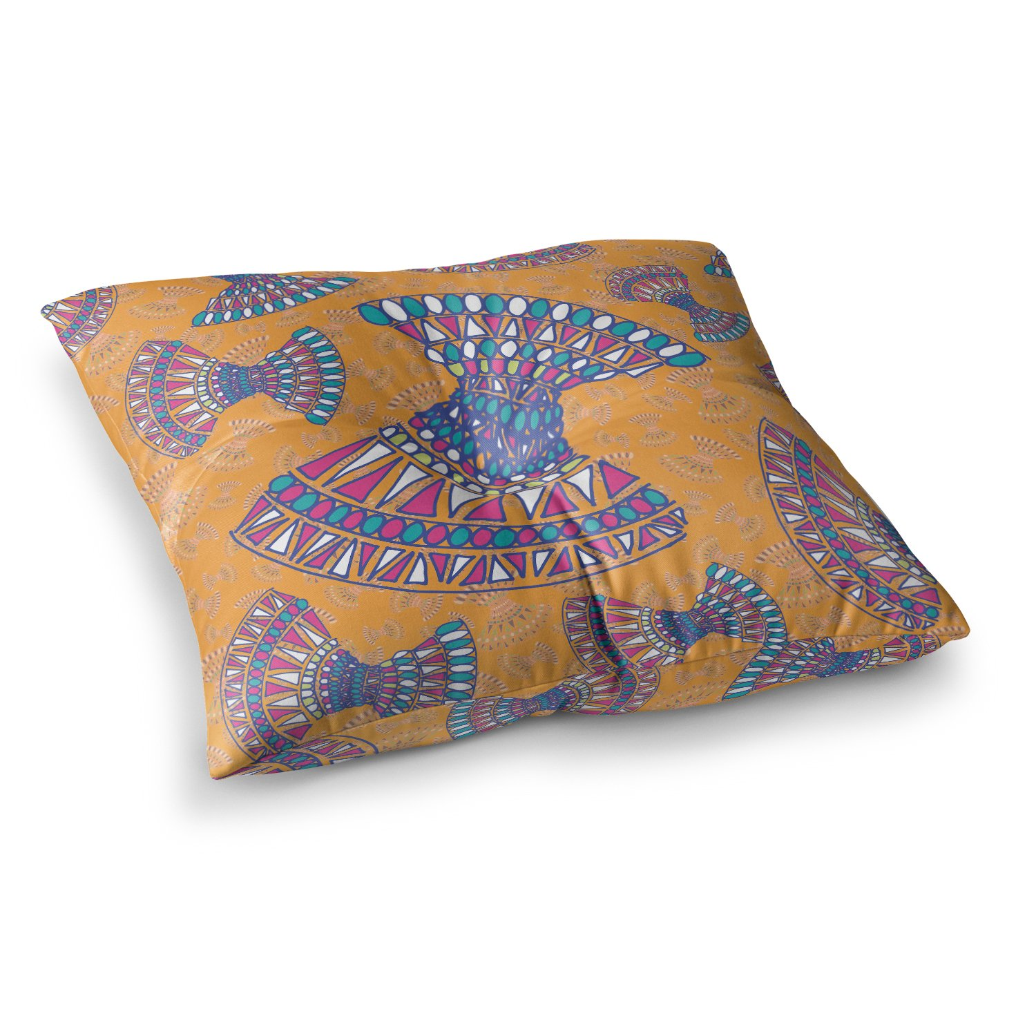 Kess InHouse Miranda MOL Tribal Fun Orange Abstract Tangerine 23 x 23 Square Floor Pillow