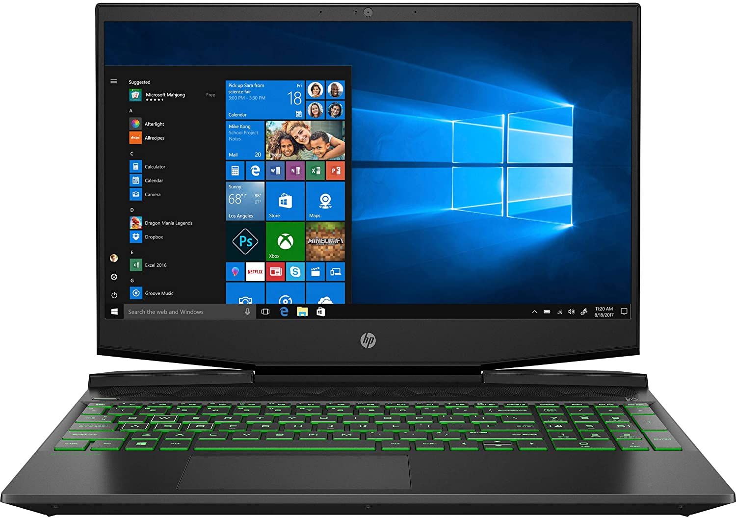 HP Pavilion Gaming 15-Inch Micro-Edge Laptop, Intel Core i5-9300H Processor, NVIDIA GeForce GTX 1650 (4 GB), 8 GB SDRAM, 256 GB SSD, Windows 10 Home (Shadow Black/Acid Green)