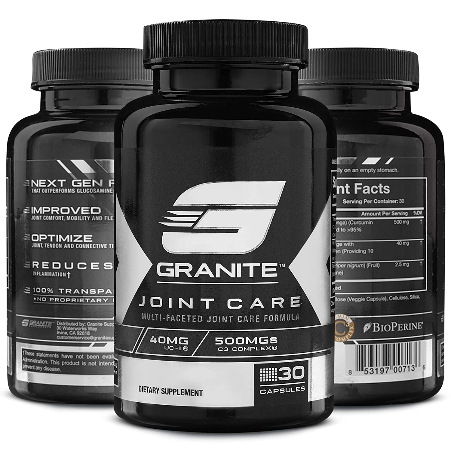 Joint Care by Granite Supplements 30 Capsules to Support Joint Flexibility, Health, and Comfort Includes Patented Undenatured Collagen as UC-II, Curcumin C3 Complex, and Bioperine