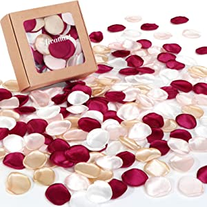400Pcs Silk Rose Petals for Wedding Decorations, Burgundy Maroon Flower Petals for Centerpieces Reception Tables Rustic Decor Flower Girl Scatter for Aisle Runner,Bridal Shower