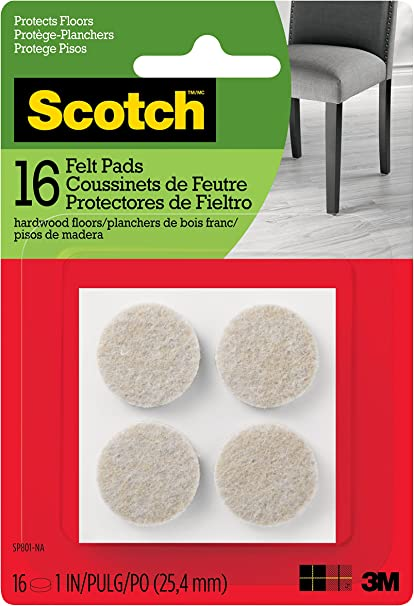 New Scotch Brand Felt Pads by 3M Great for Protecting Wood Floors Round 1 in Beige Diameter