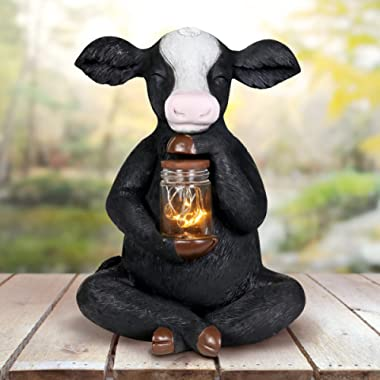 Exhart Solar Cow Garden Statue with LED Firefly Lights Glass Jar – Black & White Cow Statue Holding a Mason Jar w/Firefly String Lights – Cute Cow Decor for Garden, Yard, Patio, 7  L x 6  W x 11  H