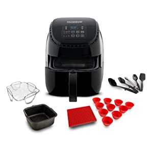 NuWave 36019 Brio Air Fryer 3Qt Black W/Baking Pot, Reversible Rack, Silicone Trivet, Cupcake Liners & 5 Piece Utensil Set