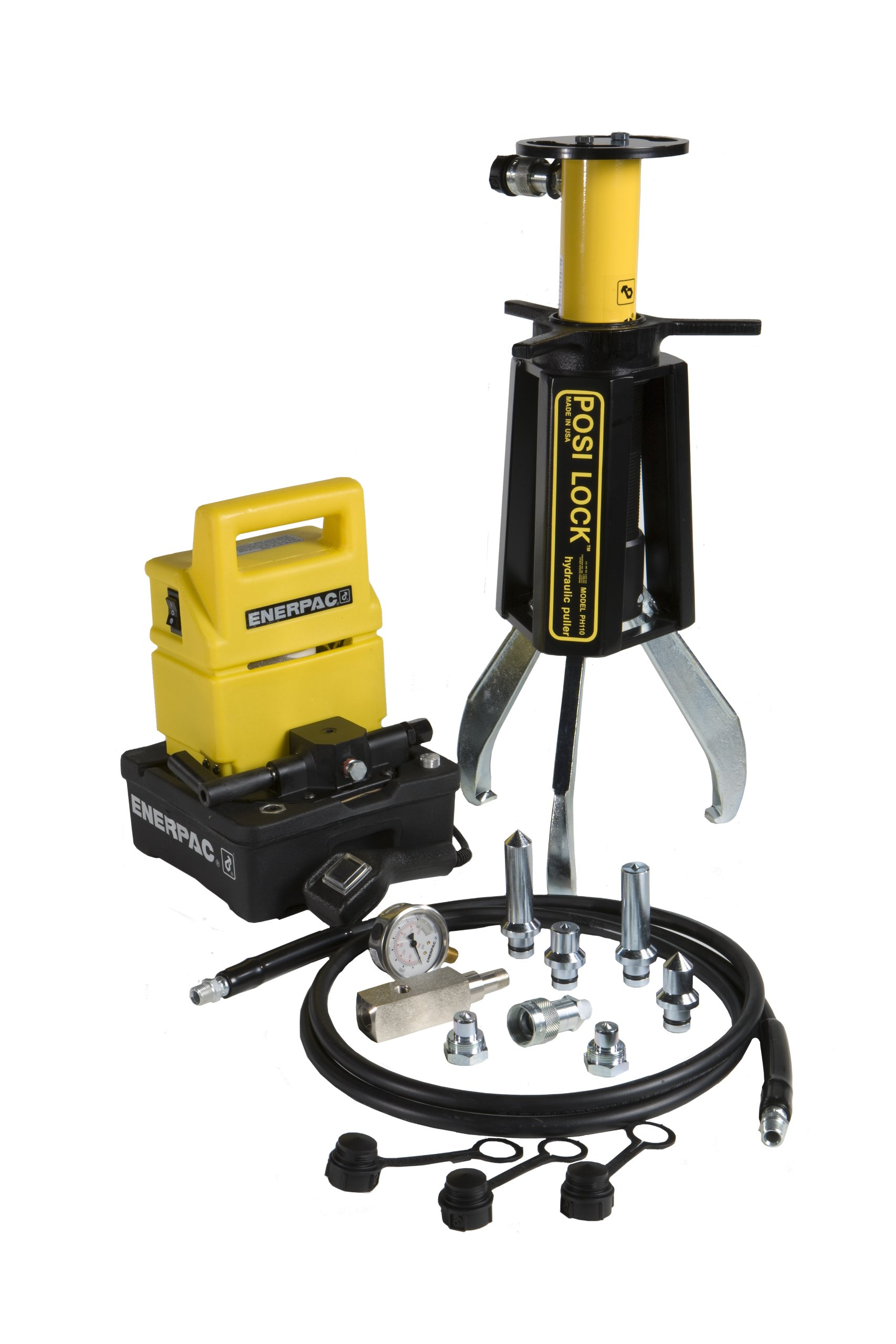 Posi Lock PH-110 External Puller, 3jaw, 15 ton capacity, 10'' Reach, 1''-15'' Spread Range with an electric pump