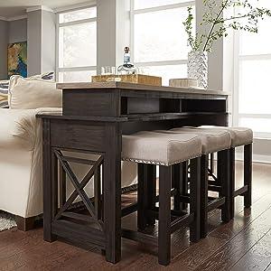 Liberty Furniture Industries Heatherbrook 4 Piece Set (1-Console 3-Stools), Dark Brown