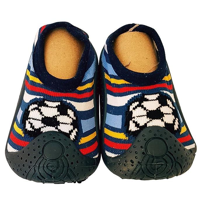 C2BB - Calcetines con suela antideslizante para niños | Fútbol rayas - Talla: 23