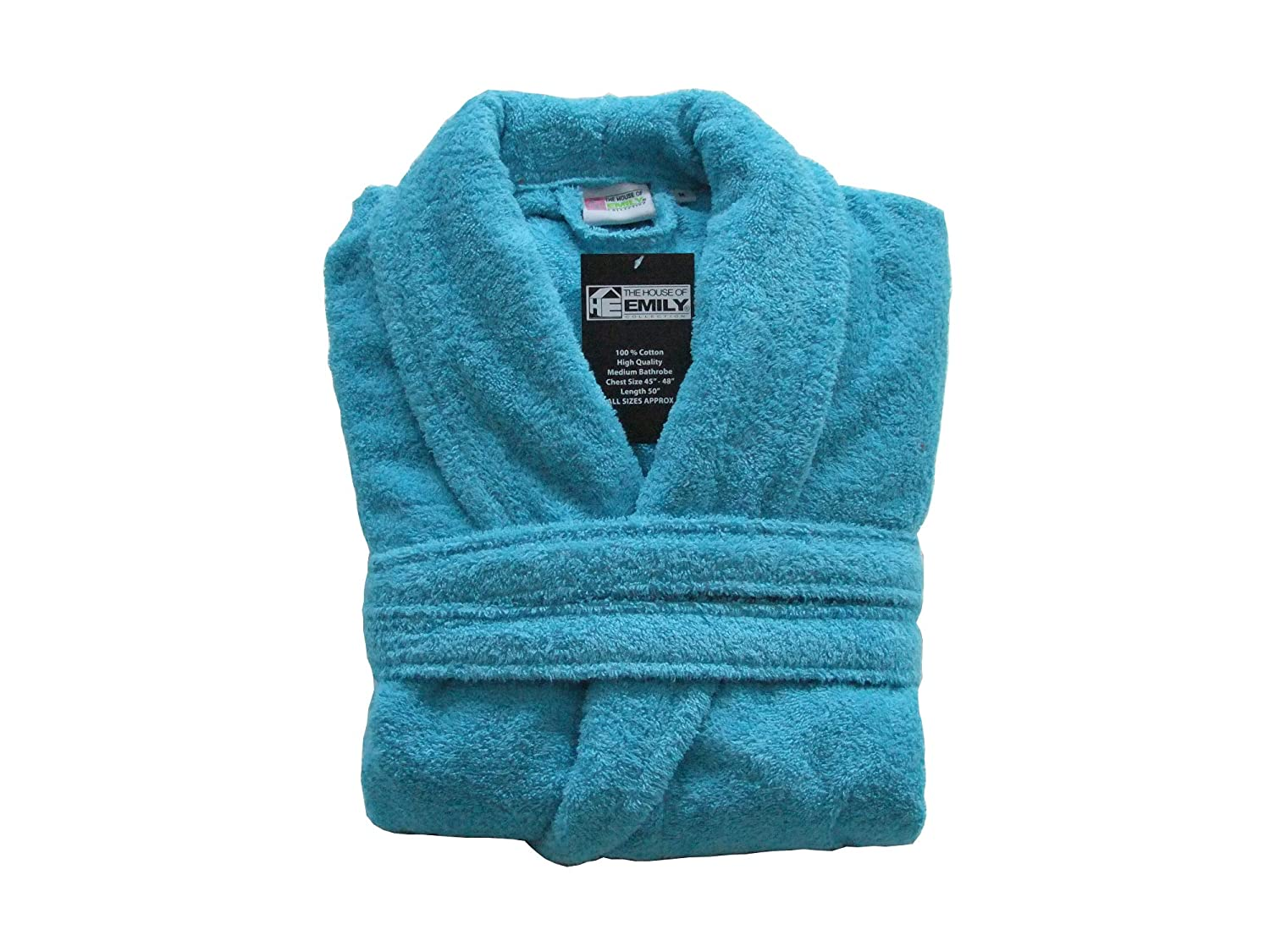 67d71c240f Amazon.com  100% Cotton Terry Towelling Bathrobe Bath Robe + Matching Belt  - Medium   Chest Size 45 - 48 (Aqua) by The House Of Emily  Home   Kitchen