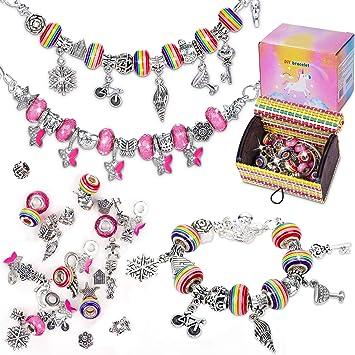 A Cadeau Rigolo Breloques Creation Bijoux Serpents Plaqu/ées Argent et Perles pour Filles Ados,en Acier Plaqu/é Argent WingFly Bracelet Fille Idee Cadeau Ado Fille Cadeau Fille 6-12 Ans