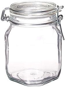 Bormioli Rocco SYNCHKG122276 Glass Jar, 1 Liter (Pack of 2), Clear