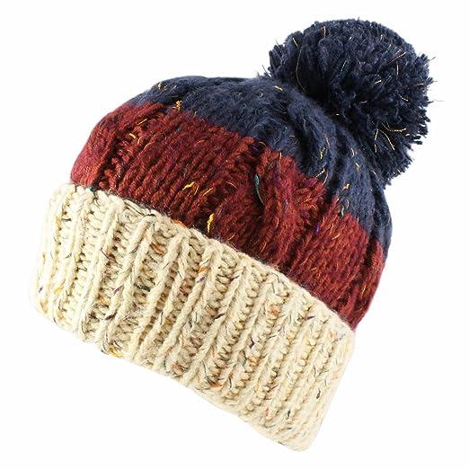 bcc2a13ec Morehats Three Tone Crochet Knit Slouchy Pompom Beanie Beret Winter Ski Hat