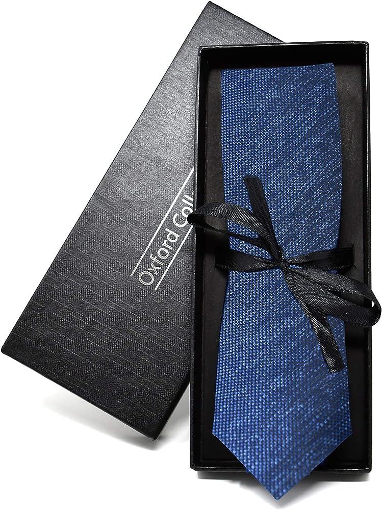 Oxford Collection Corbata de hombre Azul Oscuro - 100% Seda ...