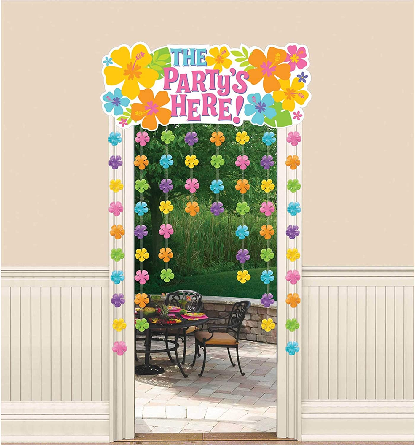 Amscan Hibiscus Party Door Curtain with Flower Attachments, 54