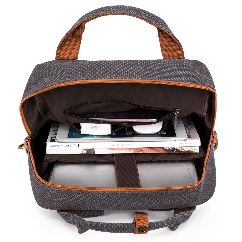 LOKASS Laptop Bolso para Estudiantes Mochila de Viaje College Bag Se Adapta a 15.6 Pulgadas Laptop//Notebook//Ordenador Port/átil Ligera Casual Canvas Computer Bag para Mujeres y Hombres Negro