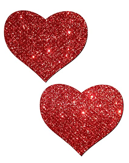 Clothing, Shoes & Accessories Neva Nude Pasty Hearts Glitter Red