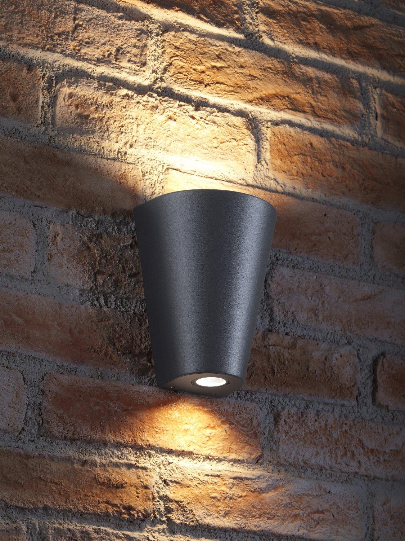 Blanco c/álido Auraglow Luz de pared Gris Aluminio Arriba y abajo 2 x LED Bombilla 7W Incluido