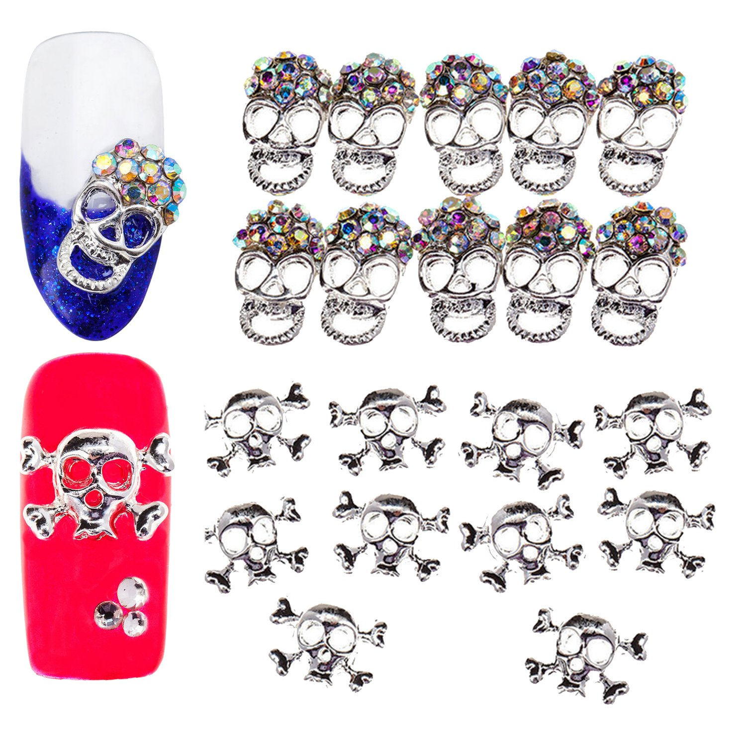 3D Nail Art Manicure Designs Set of 20pcs Skulls Shaped Decorations Studded With Crystals Rhinestones Gems Jewels VAGASHOP