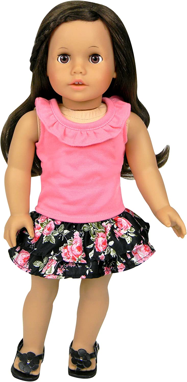 Set of Tank /& Skirt 18 Inch Doll Clothing//Clothes Set of Ruffle Tank /& Elastic Waist Satin Skirt Fits American Girl Dolls