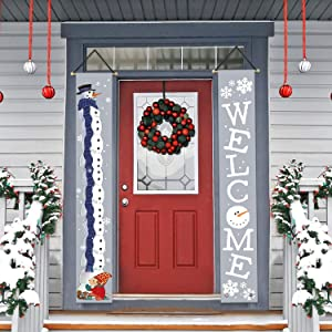 AVOIN Winter Christmas Snowman Welcome Porch Sign, Holiday Snowflake Hanging Banner Flag for Yard Indoor Outdoor Party 12 x 72 Inch
