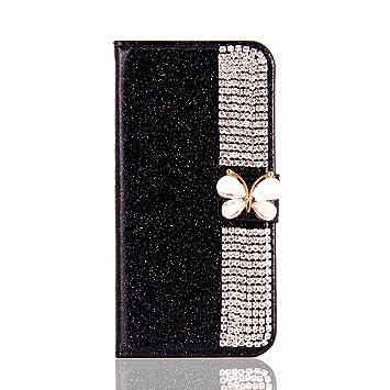 Glitter Brillante Funda para Huawei P10, Misteem Cierre Magnético Mariposa Estrella Diseño Diamantes Lujo Brillo Bling Patrón Cartera Cubierta Cuero Tarjeta ...