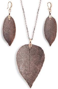 Boutiquelovin Filigree Long Leaf Necklace & Earring Jewelry Set