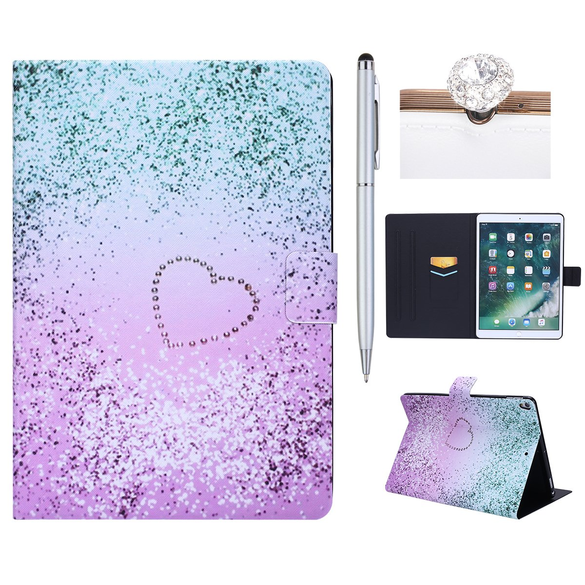 iPad Pro 10.5 Case, iPad Pro 10.5 Cover, iPad Pro 10.5 inch Case, Felfy Leather Case for iPad Pro 10.5, iPad Pro 10.5 Case Leather, Premium Leather Ultra Thin Colorful Paniting Cover Wallet Flip Case with Built-in Stand and Front/Back Protection Magnetic A
