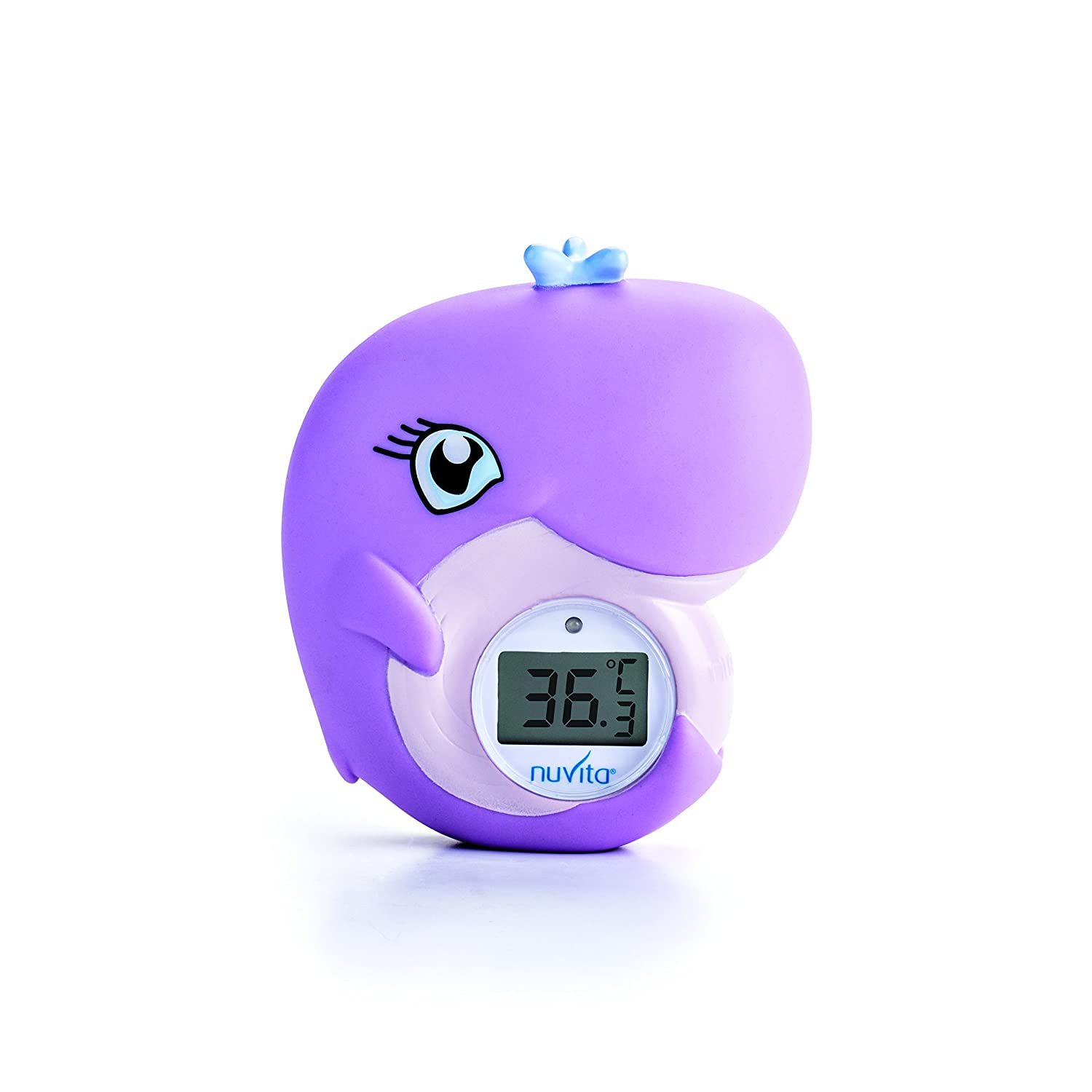 Bath and Room Thermometer 2 in 1 Nuvita 1007 – Digital Bath Thermometer – Baby Thermometer with Alarm LED Too Hot / Too Cold – Bath Toy in Whale Shape Certified and Safe (EN71 compliant) - EU Brand - Italian Design