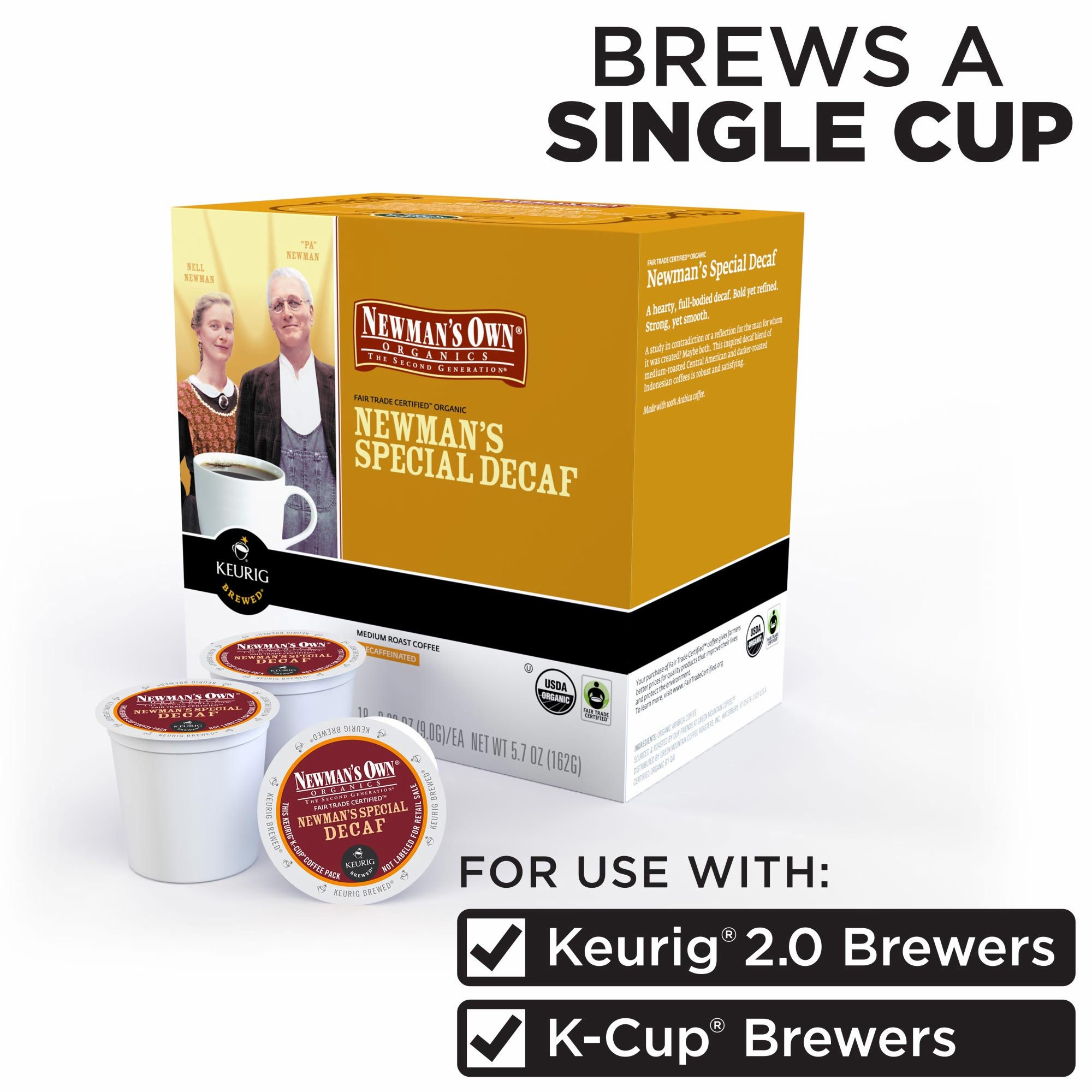 Newman's Own Organics Special Decaf Coffee 180 K-Cup Pods